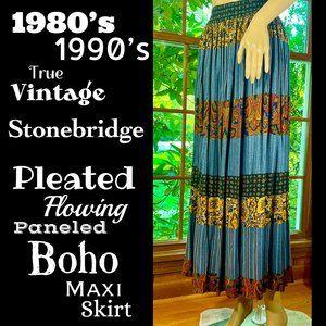 🆕VTG▪️STONEBRIDGE▪️Pleated Panel Boho Maxi Skirt